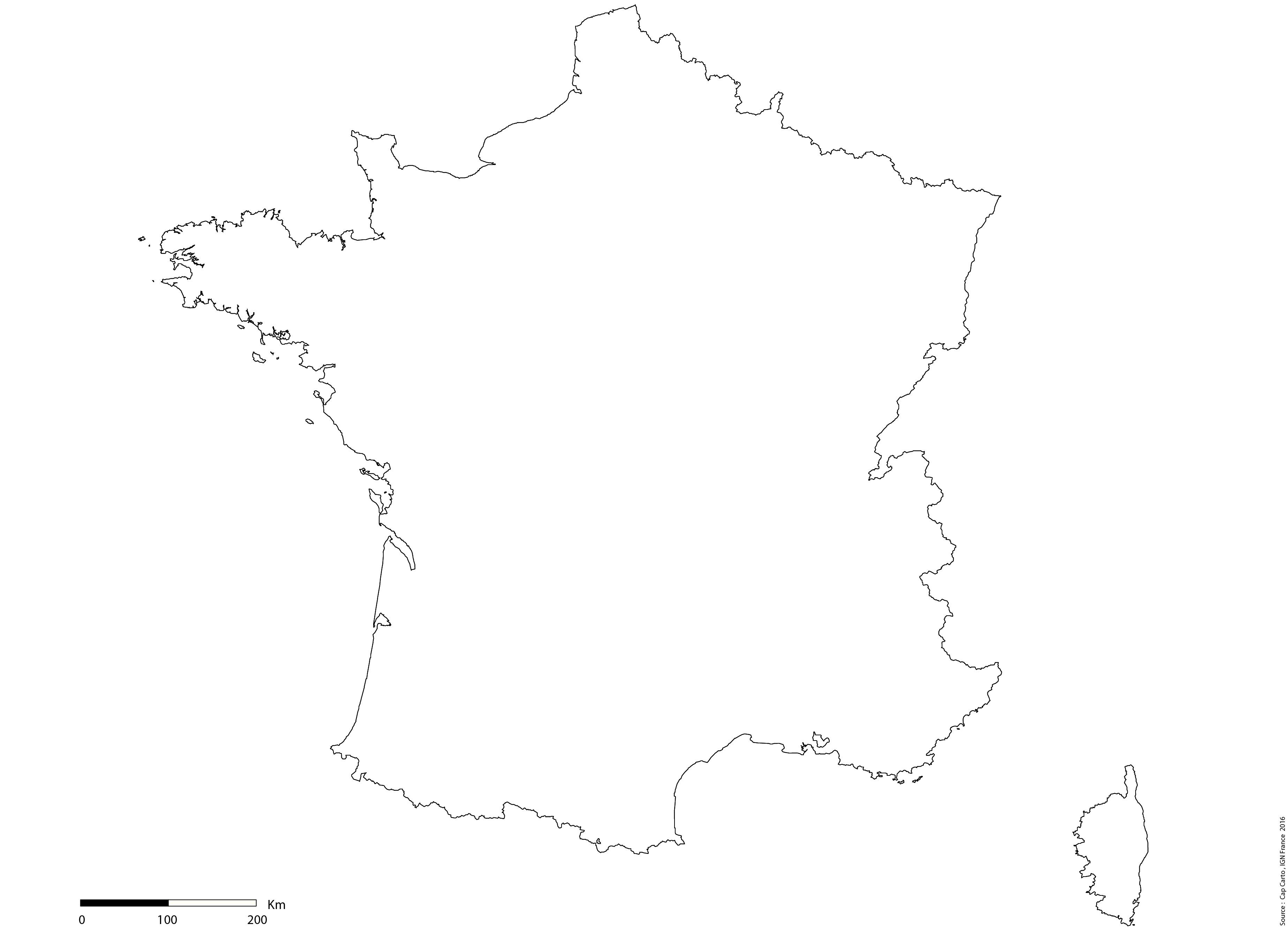 france-contours-vierge-echelle - Cap Carto