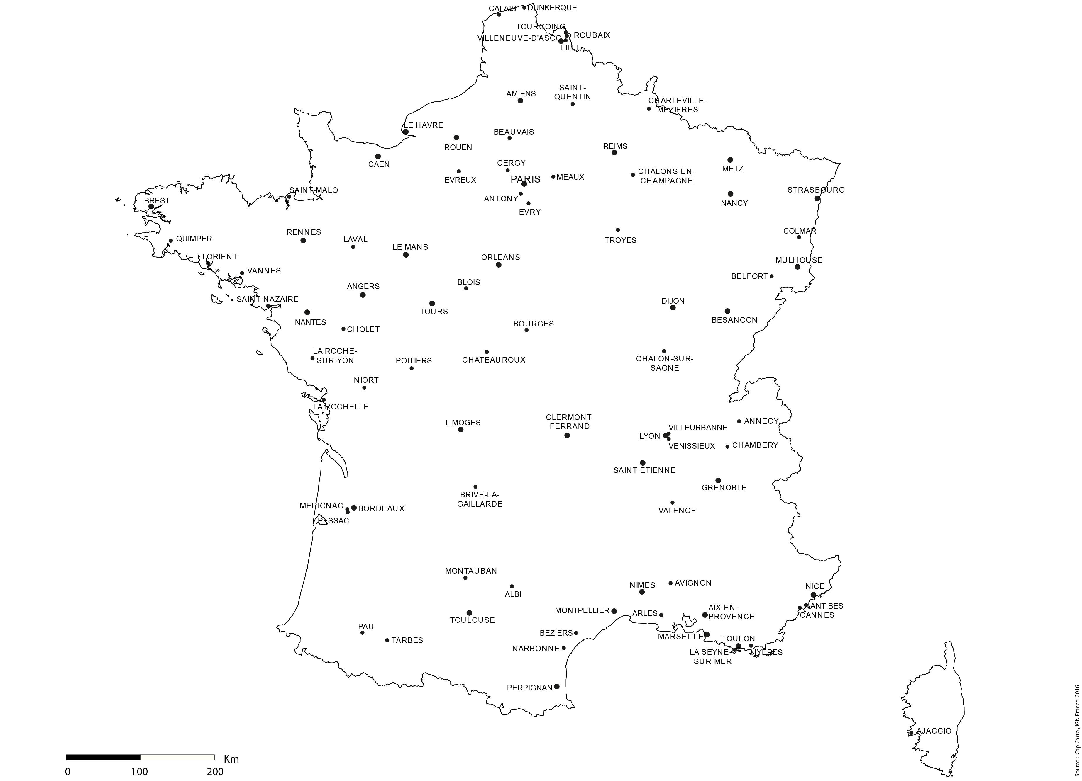 France Villes Lambert93 Villes Sup 45000 Echelle Noms Cap