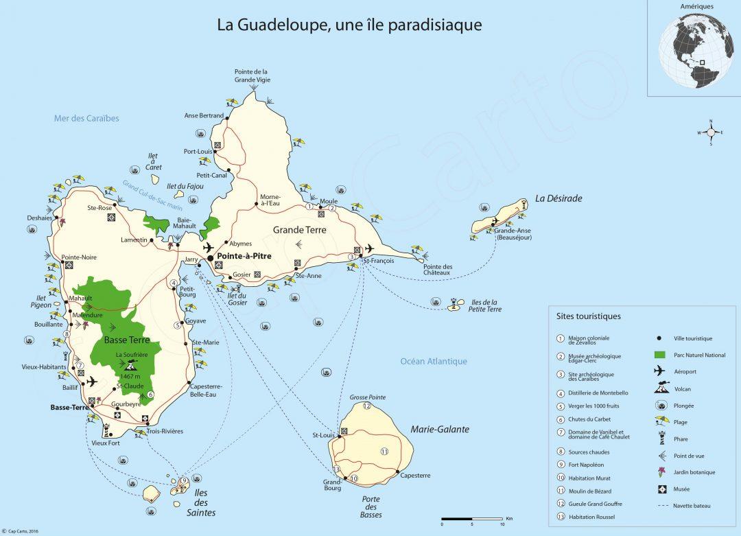 Carte touristique de la Guadeloupe et sa culture créole