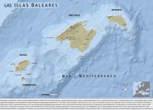Carte des îles des Baléares Cap Carto