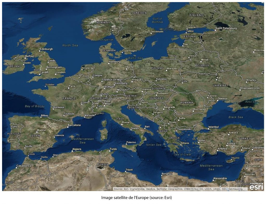 carte image satellite europe