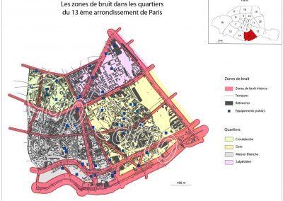 Zones de bruit des quartiers du 13 ème arrondissement de Paris