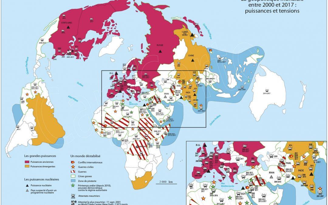 Carte des grandes puissances et des lieux de tensions entre 2000 et 2017