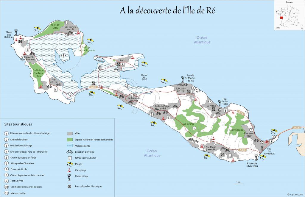 Carte touristique de l'ile de Ré - Cap Carto